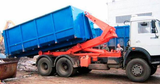 Погрузка контейнера 20 м3 на машину с системой мультилифт